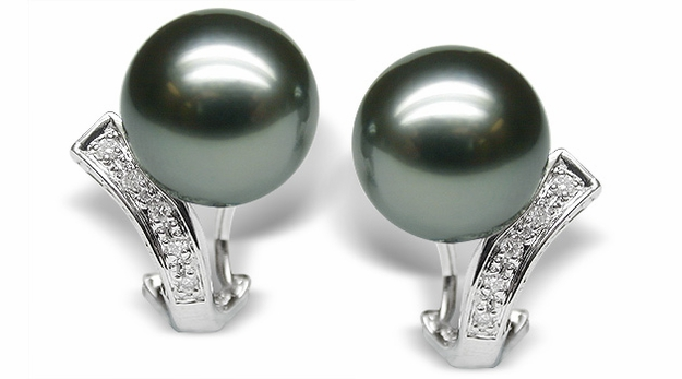 Muse a Black Tahitian Cultured Pearl Earring