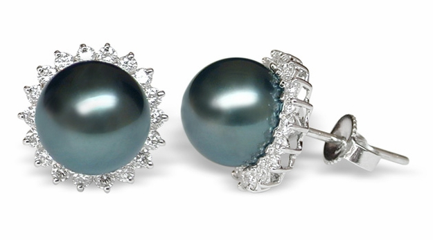 Night Sunflower a Black Tahitian South Sea Pearl Earring