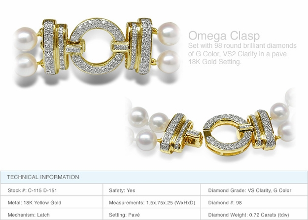 Omega Clasp a 18K Gold and Diamond Clasp