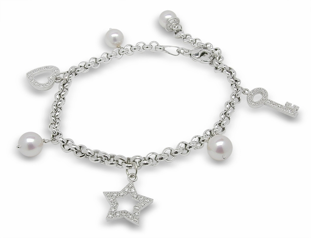 Pearl & Diamond Bracelet - Love Charms I -$675