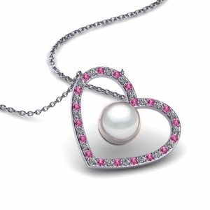 Pearl Heart Two Gemstone Pendant