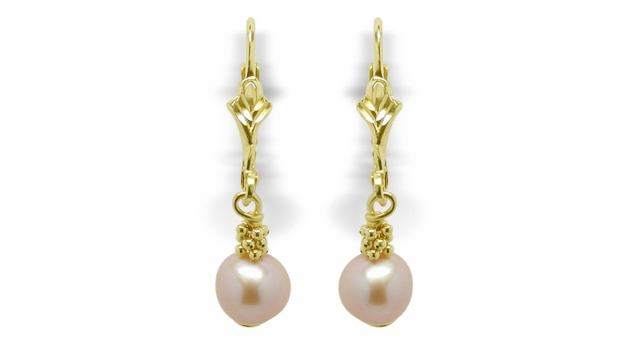 Pebbles a Freshwater Dangle Pearl Lever Back Earring