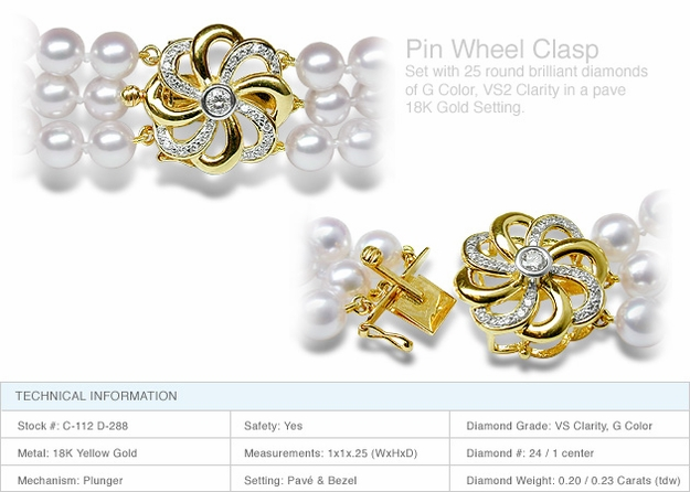 Pin Wheel Clasp a 18K Gold and Diamond Clasp