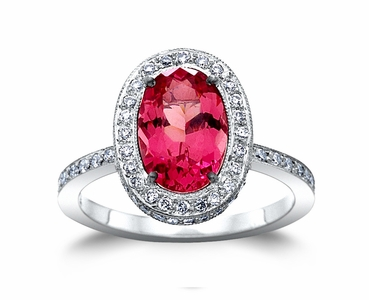 Pink Red Spinel w/0.72cttw. Diamond Platinum Ring