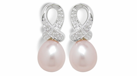 Pink Ribbon a Freshwater Cultured Pearl Earring