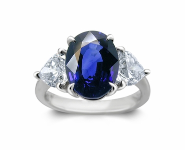 Platinum Blue Sapphire Ring w/1.25cttw. Diamonds