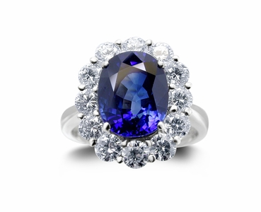 Platinum Blue Sapphire Ring w/1.55cttw. Diamonds