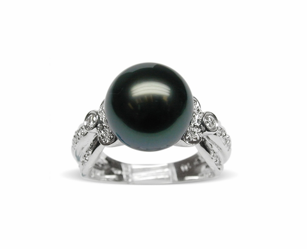 Pocahontas Black Tahitian South Sea Pearl Ring