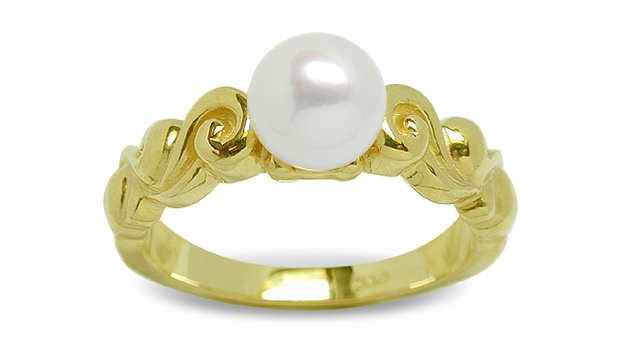 Rolling Cloud a Japanese Akoya Cultured Pearl Ring