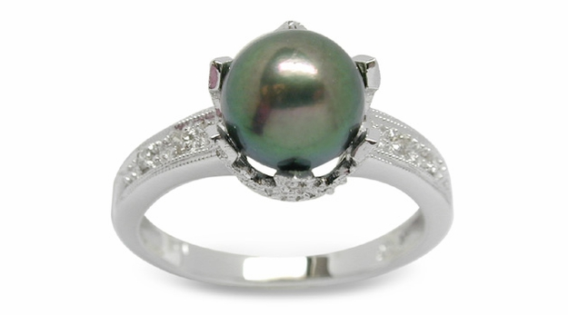 Romana a Black Bodycolor Japanese Akoya Cultured Pearl Ring