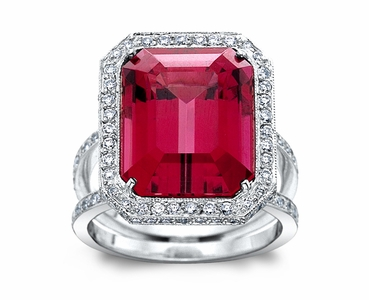 Rubellite w/0.72cttw. Diamond Platinum Ring