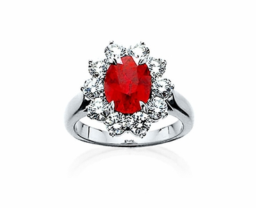 Ruby and Diamond Platinum Ring