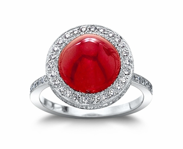 Ruby w/0.84 cttw. Diamond Platinum Ring