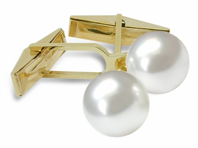 Sleeve Cuff Links - Australian White South Sea Cultured Pearl - 14K Gold