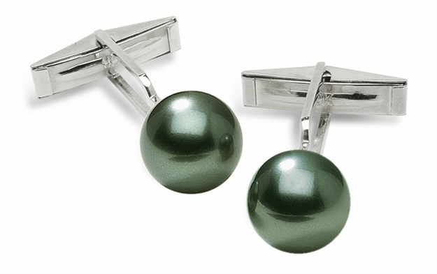 Sleeve Cuff Links - Black Green Tahitian Cultured Pearl - 14K Gold