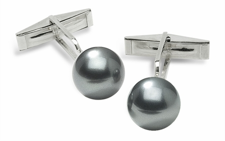 Sleeve Cuff Links - Grey Tahitian Cultured Pearl - 14K Gold