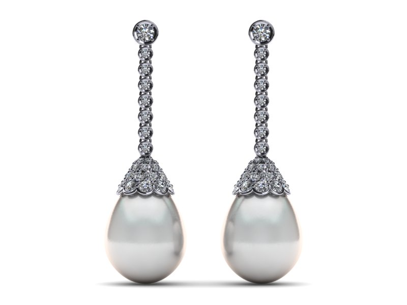 14k White Gold Diamond G Vs Pearl Antique Drop Earring