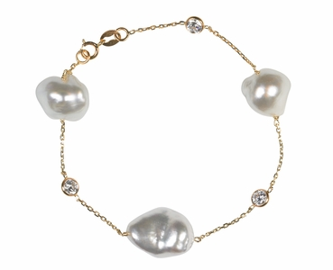 South Sea Keshi Pearl Tin Cup Bracelet
