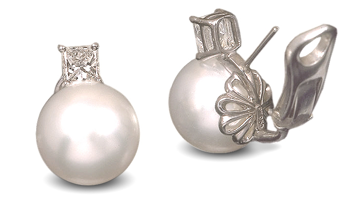 South Sea Pearl And Radiant Diamond Earring