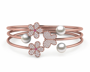 South Sea Pearl Butterfly Flower Bangle