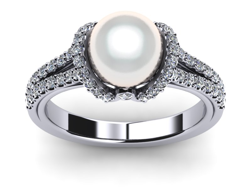 white ring gold engagement cultured pearl rings styles diamond freshwater real in brides accent and gallery