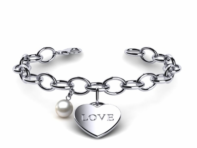 South Sea Pearl Heart Love Bracelet