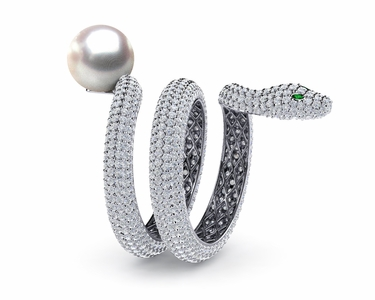 South Sea Pearl Snake Ring