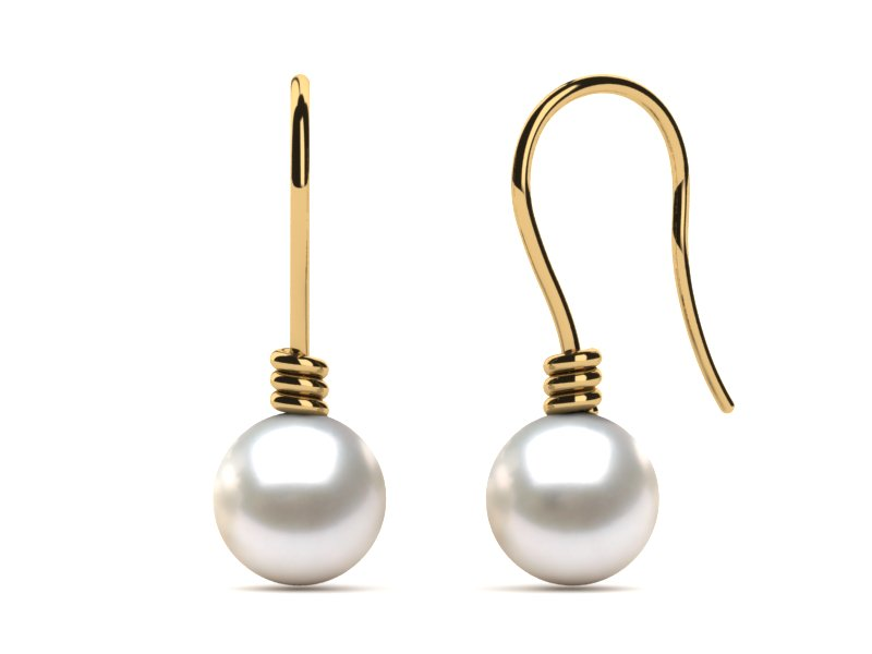 14K Yellow Gold White Pearl Twisted Wire Earring