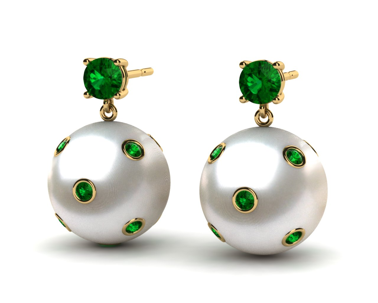 Ideal 14K Yellow Gold Emerald & White Pearl Starry Night Dangle Earring UL09
