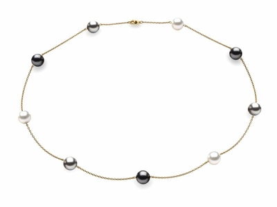 Tahitian Black Grey & White Multicolor Pearl Necklace
