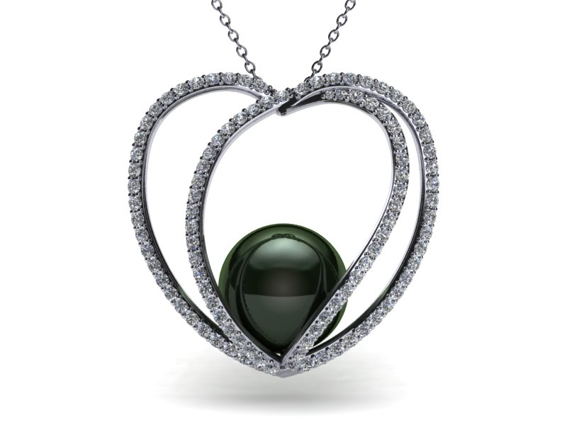 14k white gold diamond tahitian pearl 3d heart pendant aloadofball Image collections