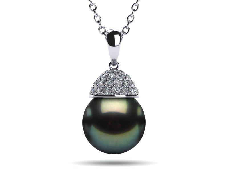 diamond white tahitian gold pendant green black acorn pearl