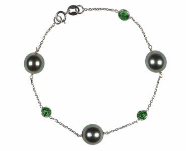 Tahitian Pearl and Emerald Bracelet