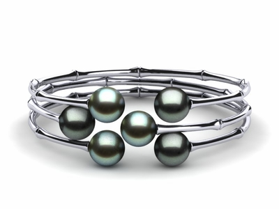 Tahitian Pearl Bamboo Bangle Bracelet | Sold Individually