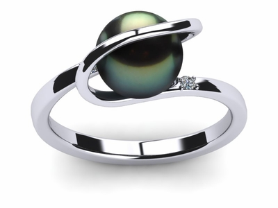 Tahitian Pearl Diamond Halo Ring