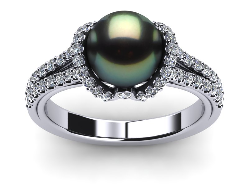 Tahitian Pearl Diamond Ribbon Ring American Pearl