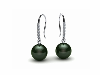 Tahitian Pearl Diamond Shepherds Hook Earring