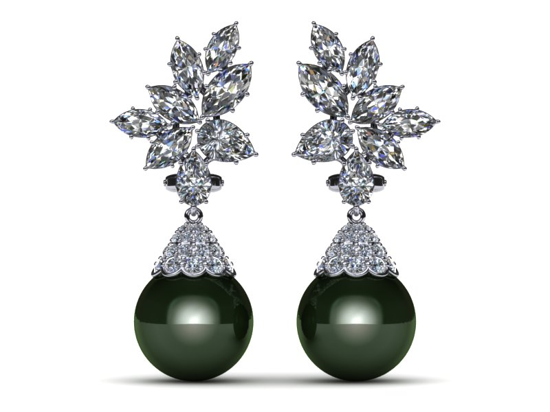 Tahitian Pearl Earring Diamond Cer With Cap 4 37 Carats T D W American