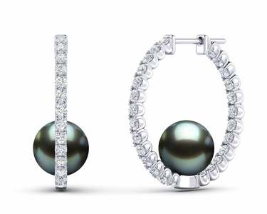 Tahitian Pearl Large Diamond Hoop Earring