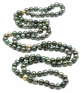 Tahitian Pearl Necklace Serial Number | 9 x 10mm Multicolor Tahitian Pearl Necklace