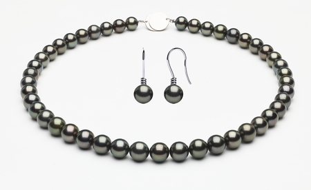 Tahitian Pearl Necklace with Free 14K Matching Earring Serial Number | 9-9mmto8-1mm-tahitian-south-sea-pearl-necklace-true-aaa-16inch-s8-xa02546-b32