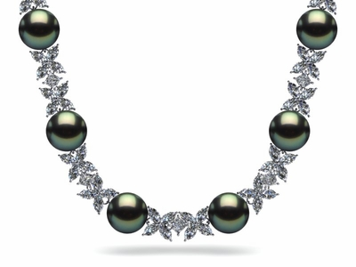 Tahitian Pearl Princess & Marquise Diamond Necklace