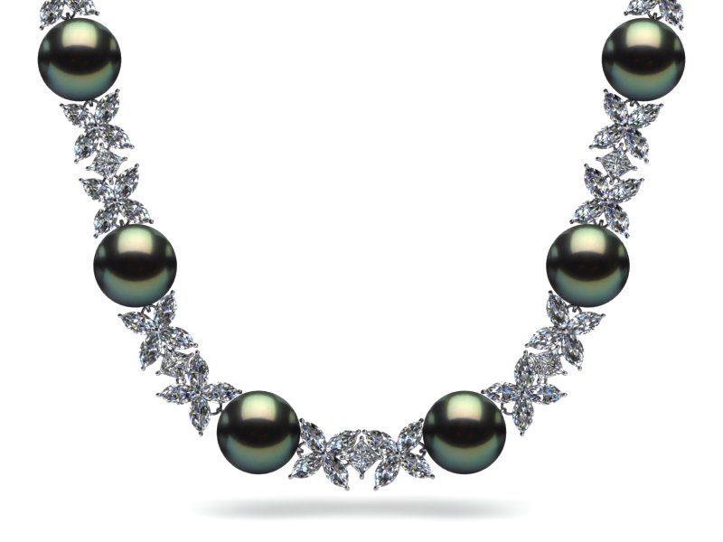 img karat products grey white pearl diamond gold silverscape necklace estate