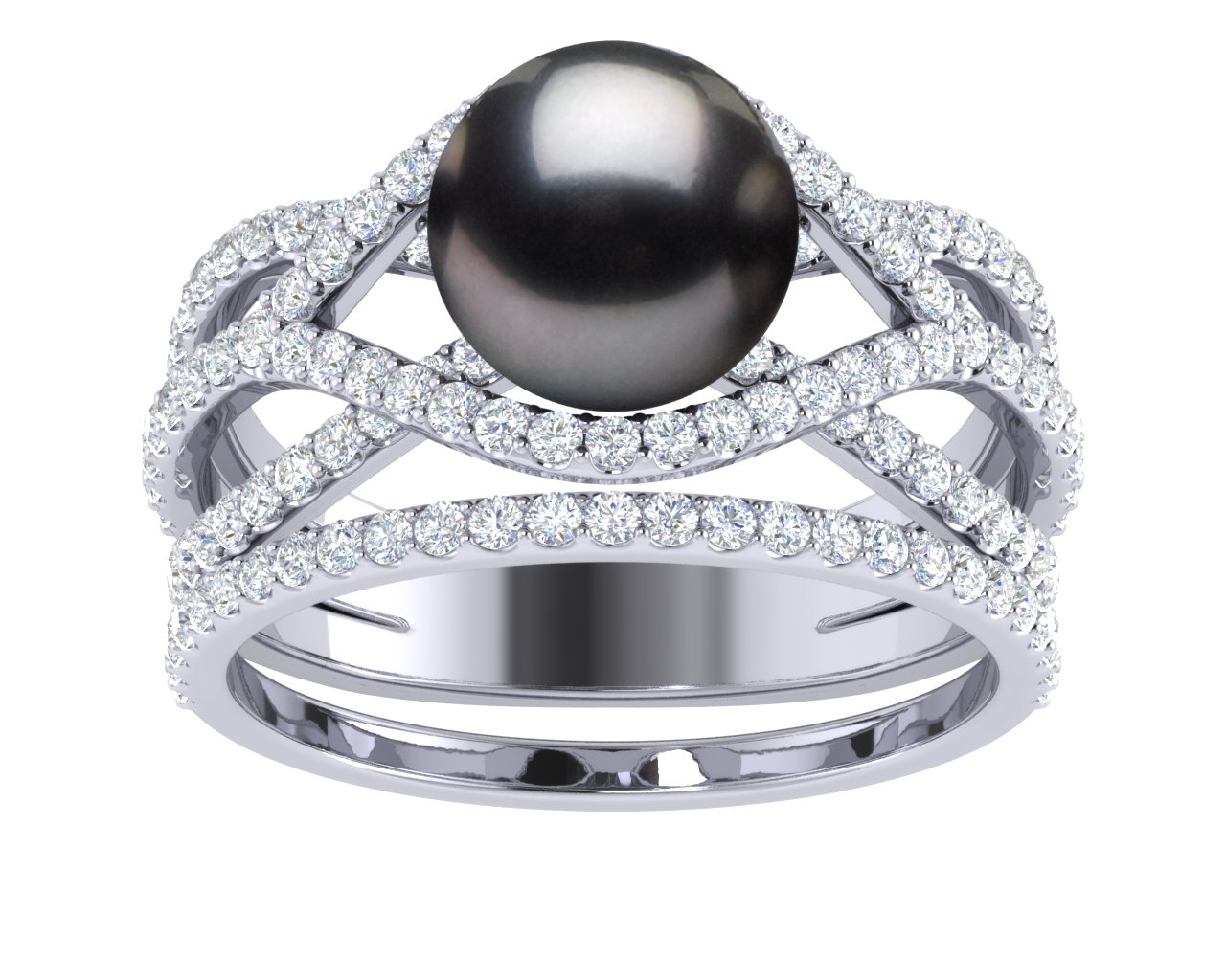 Tahitian Pearl Rainbow Engagement Ring With Wedding Band