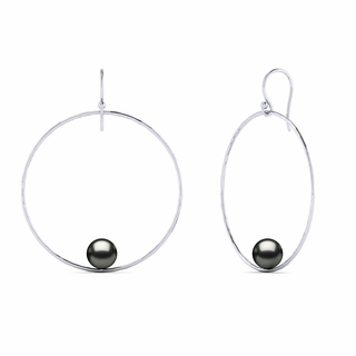 Tahitian Pearl Round Circle of Life Pearl Earring