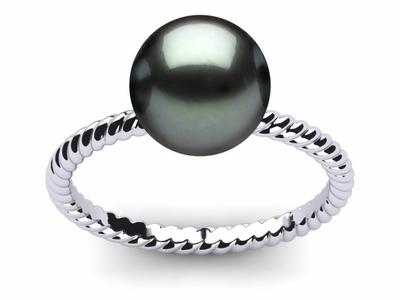 Tahitian Pearl Twisted Shank Ring