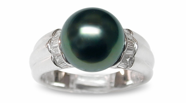 Trina a Black Tahitian South Sea Cultured Pearl Ring