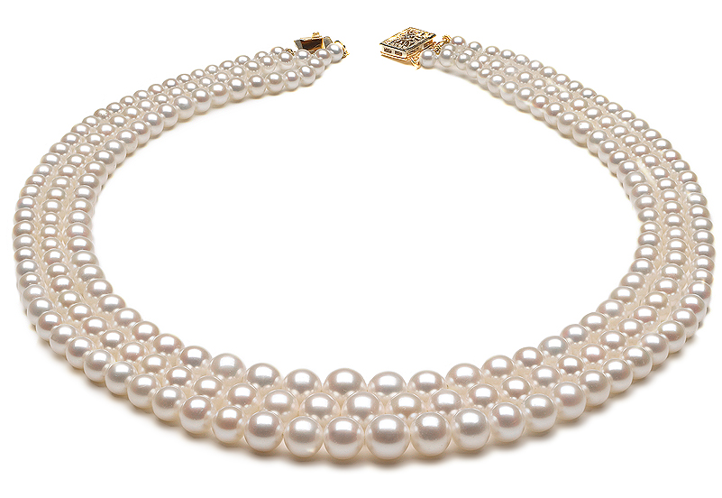 Triple Graduated Pearl Necklace American Pearl