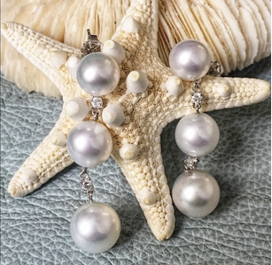 Triple Pearl & Diamond Drop Earring