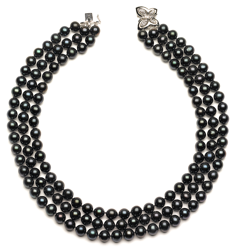Triple Strand Black Pearl Necklaces American Pearl